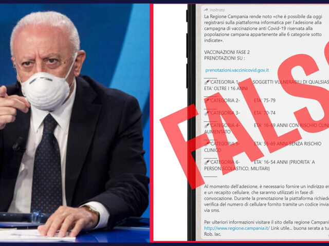 "De Luca avverte: ""Tutto falso, è una fake news"""